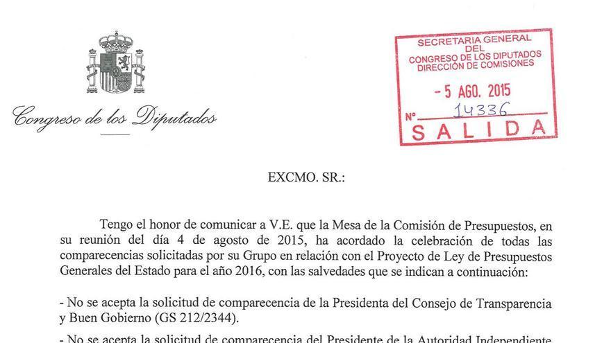 Rechazo de la comparecencia de la presidenta del Consejo de la Transparencia