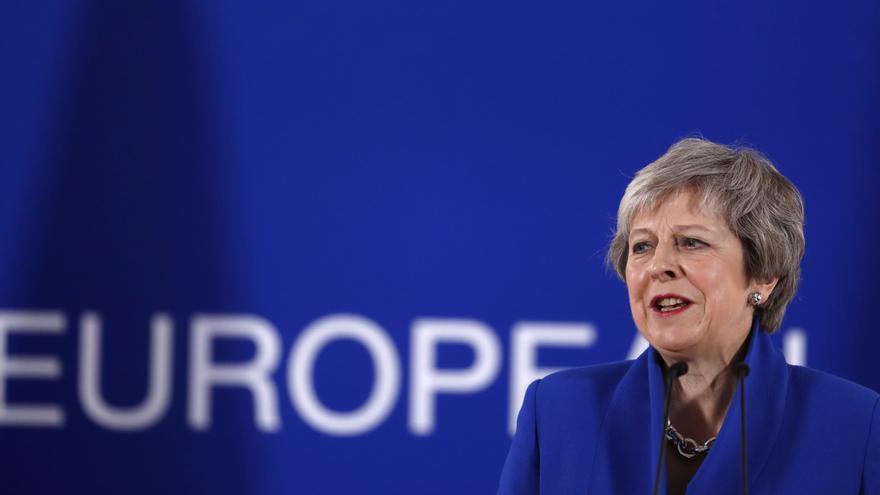 La Primera Ministra de Gran Bretaña, Theresa May, en a una conferencia de prensa tras una cumbre extraordinaria de líderes de la UE para formalizar el acuerdo de Brexit en Bruselas, el pasado 25 de noviembre de 2018