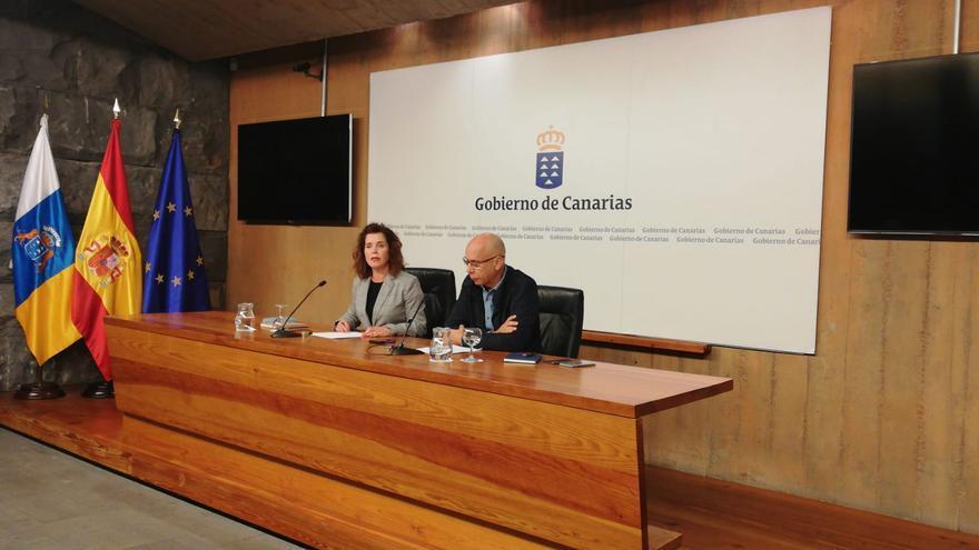 La consejera de Sanidad del Gobierno de Canarias, Teresa Cruz Oval, y el jefe del servicio de Epidemiología del SCS, Domingo Núñez.