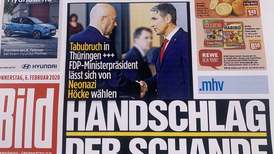 """The handshake of shame"" on the cover of Bild."