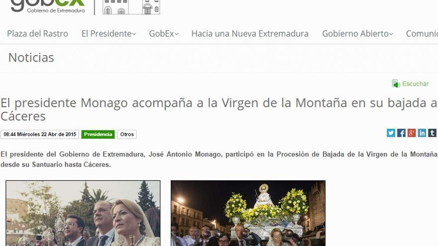 Agenda ofical de José Antonio Monago como presidente de la Junta