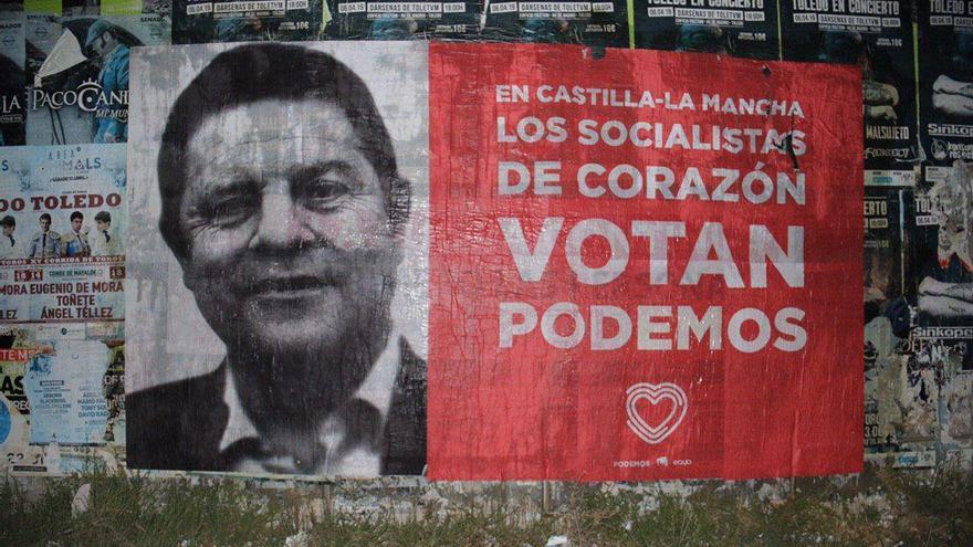 Cartel de campaña de Unidas Podemos con la imagen de García-Page (PSOE)