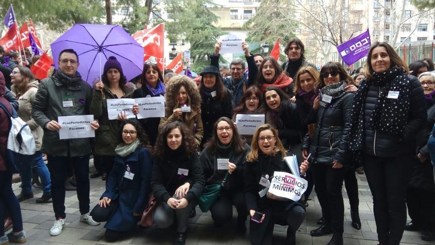 Periodistas en la concentración de Albacete