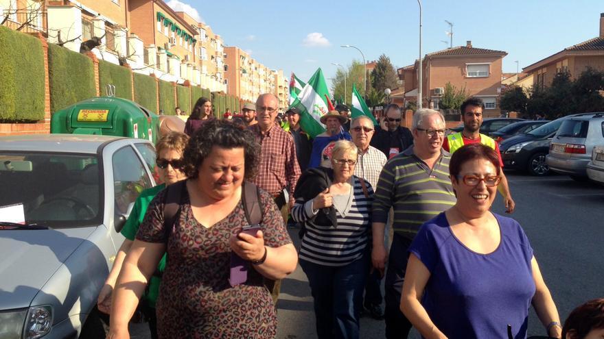 La columna procedente de Andalucía, en el trayecto de Pinto a Parla (Foto: Olga Rodríguez)