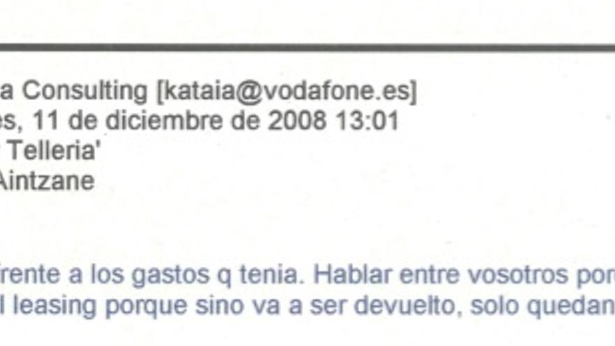 Correo entre Aintzane de Miguel y Aitor Tellería