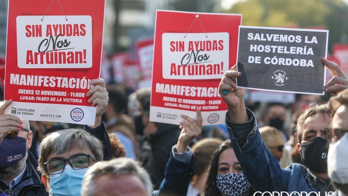 Manifestacion del sector de la hostelería en noviembre de 2020.