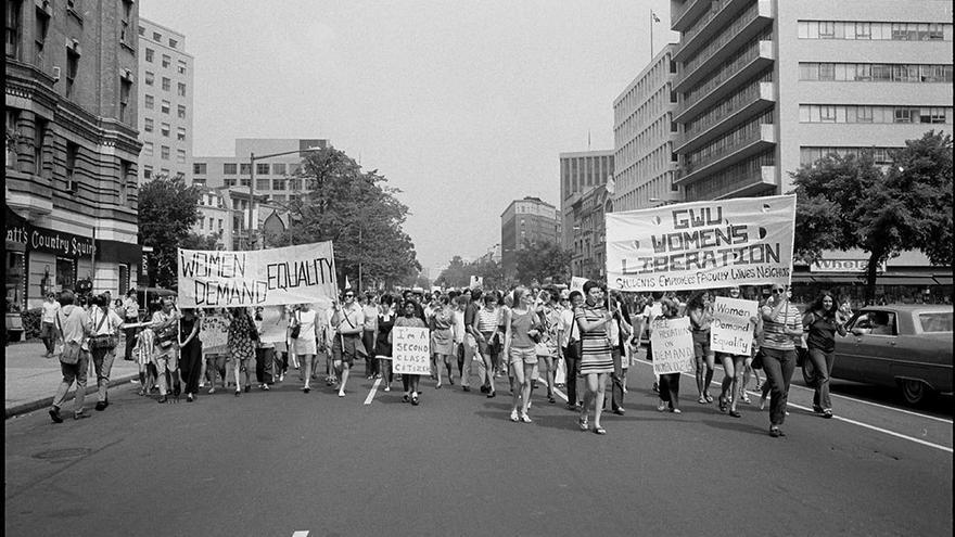 Marcha feminista, en favor de los derechos de las mujeres.