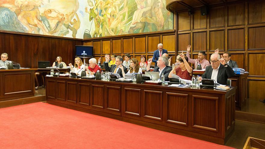 Bancada del gobierno aprobando una moción en un pleno del Cabildo de Gran Canaria