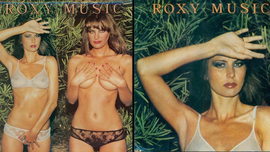 Un vinilo de Roxy Music antes y después de ser retocado por la censura franquista