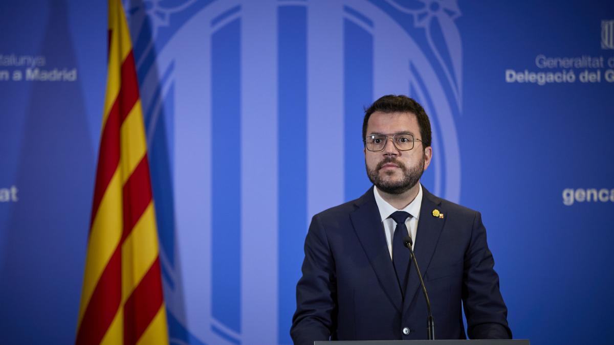 Pere Aragonès ofrece una rueda de prensa tras la reunión mantenida con el presidente del Gobierno