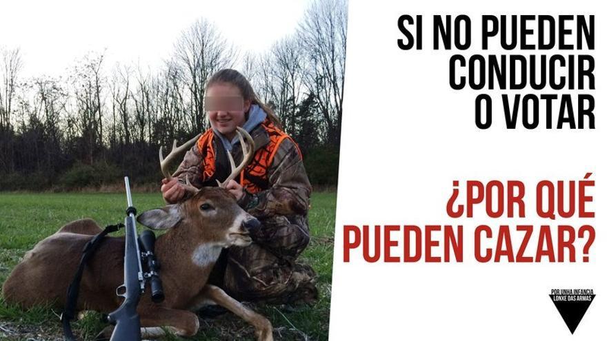 Imagen utilizada por Libera! para ilustrar su petición a la Xunta de Galicia para prohibir la participación de menores en cacerías