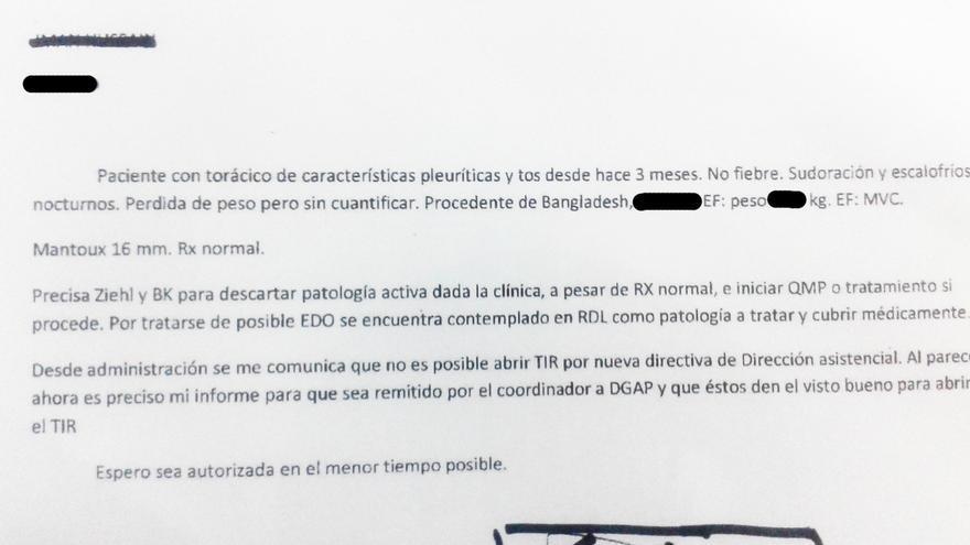 Carta de una doctora de un centro de salud madrileño para dar de alta como TIR a un paciente
