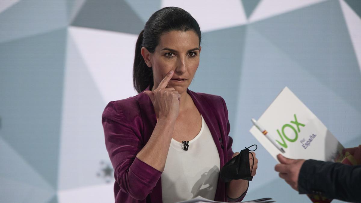 La candidata de Vox a la Presidencia de la Comunidad de Madrid, Rocío Monasterio, minutos antes del primer debate electoral