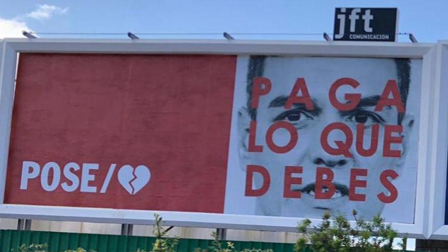 Valla publicitaria de la campaña denunciada por el PSOE ante la Junta Electoral.