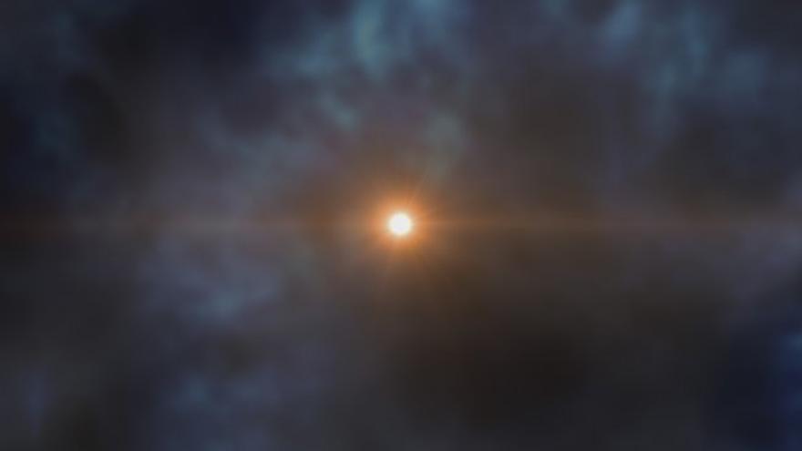 Imagen artística de la estrella J0023+0307 que se creó en las primeras etapas de la formación de la Vía Láctea. La estrella J0023+0307 se formó a partir del material eyectado por las primeras supernovas. Crédito: Gabriel Pérez, SMM (IAC).