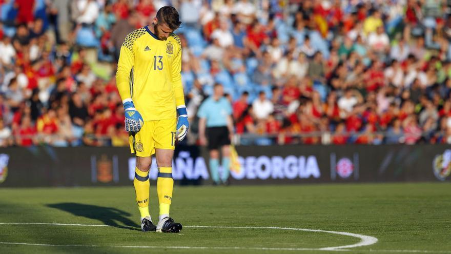 El portero David de Gea en un partido de la selección española