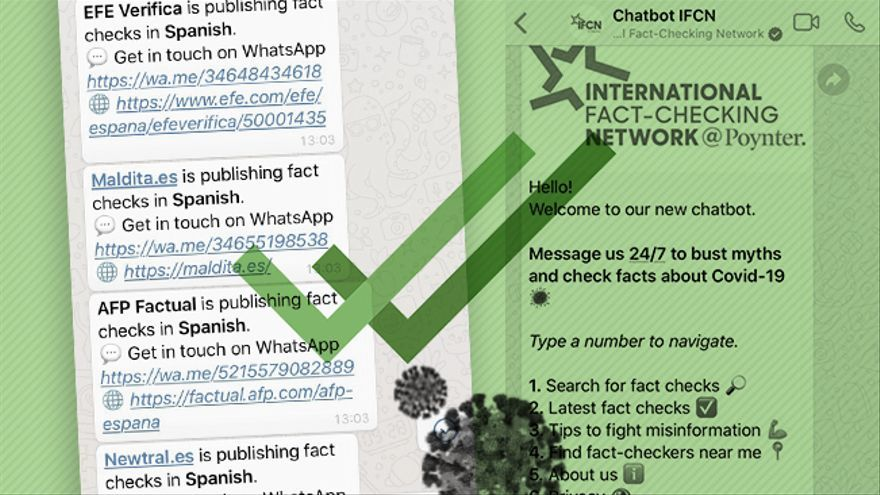 Whatsapp crea un chat automático para consultar bulos de coronavirus diseñado por la Internationat Fact-Checking Network: EFE, Maldita.es, AFP y Newtral son sus medios asociados en España.