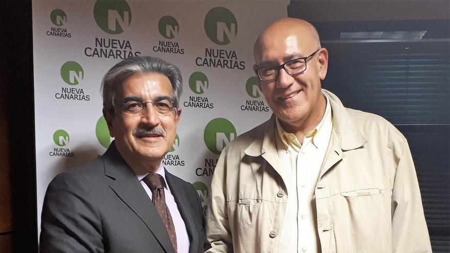 Román Rodríguez, presidente de NC, y el candidato lagunero Mena