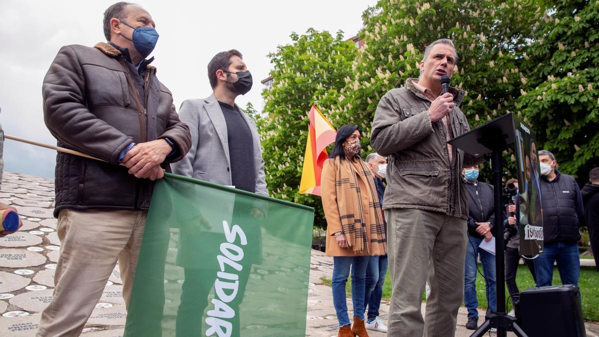 El secretario general de Vox, Javier Ortega Smith, en el acto de Solidaridad en Vitoria