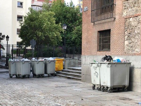 Cubos de basura en la Plaza del Rey