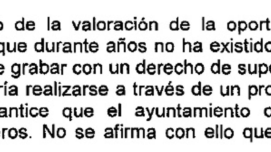 Extracto del informe del interventor municipal negativo en su valoración económica del proyecto.