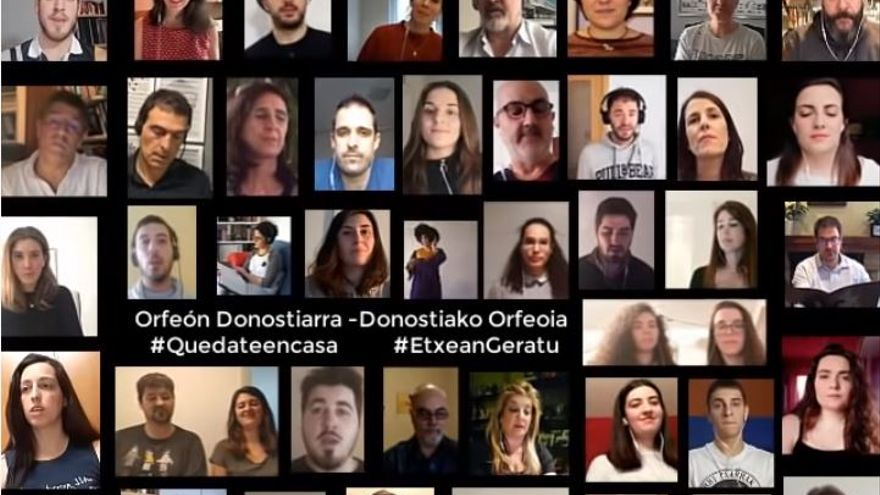 Miembros del Orfeón Donostiarra graban 'Hallelujah' desde sus casas