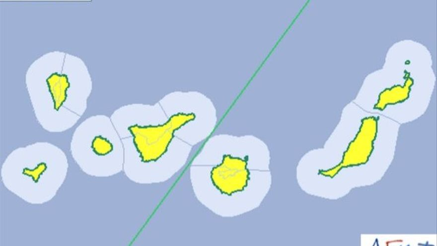 Mapa de la Aemet de aviso amarillo de riesgo por polvo en suspensión.