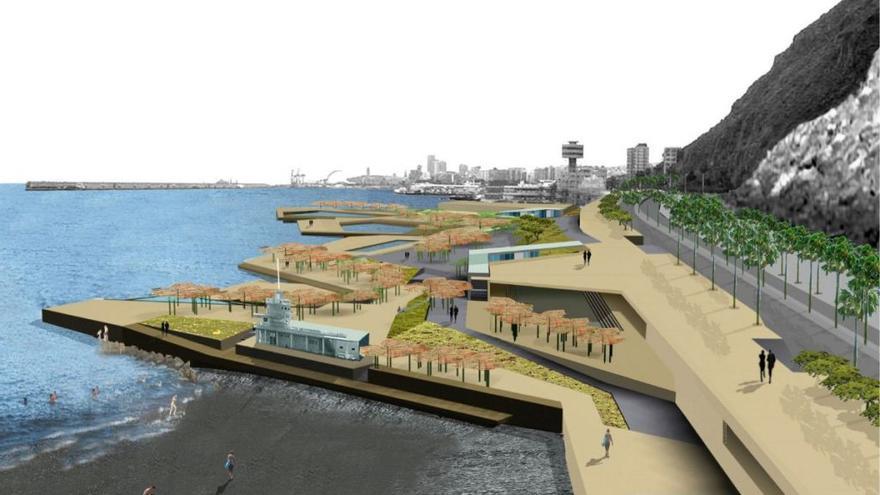 Infografía del proyecto de regeneración de la costa conocido como 'Sol y Sombra', en Santa Cruz