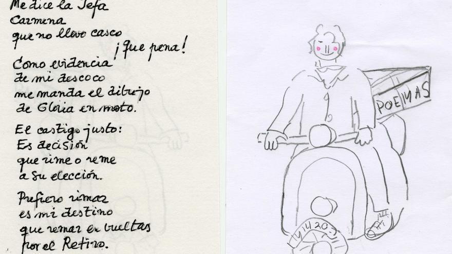 Poema y dibujo de Gloria Fuertes.