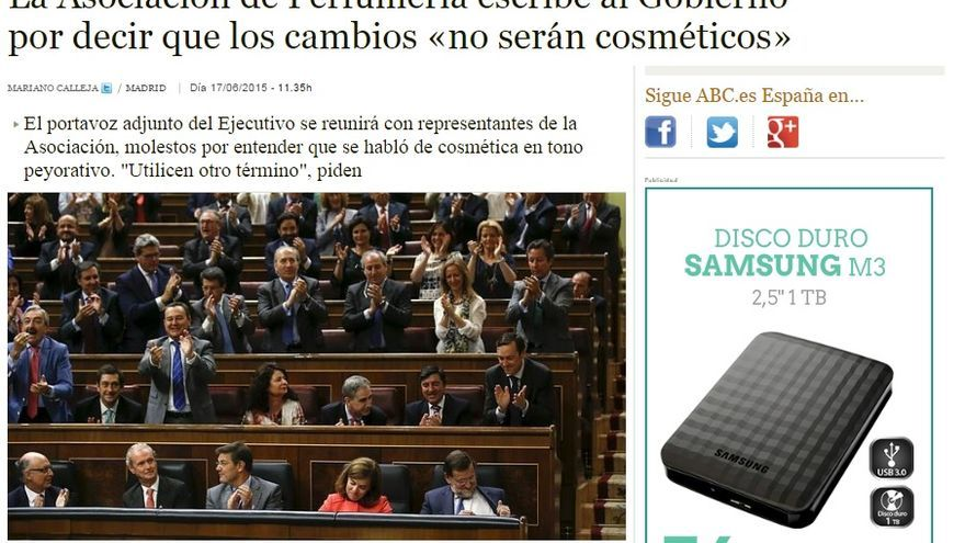 Pantallazo de la noticia publicada en ABC.