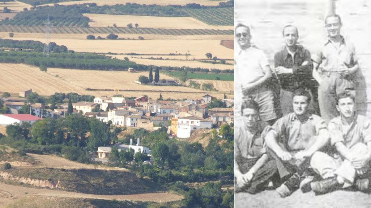 Antonio Monreal aparece de pie el primero por la izquierda junto a una imagen general de Lierta, su localidad natal