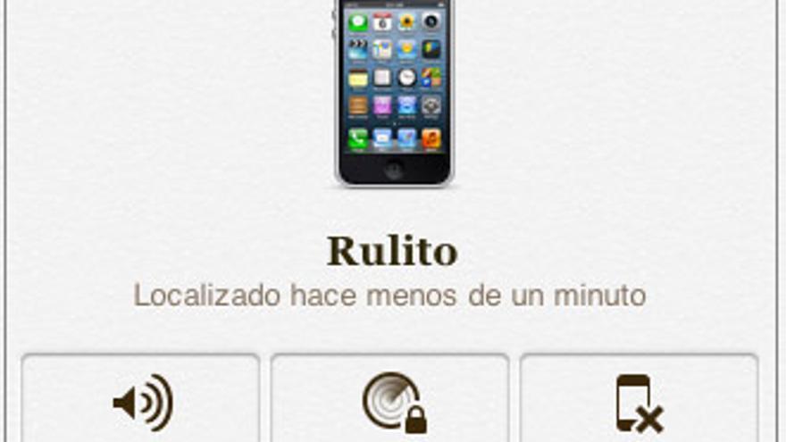 Opciones disponibles para un iPhone perdido en icloud.com