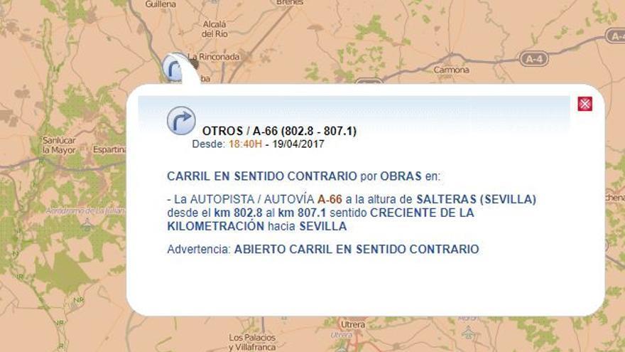 Corte carril A-66 Sevilla