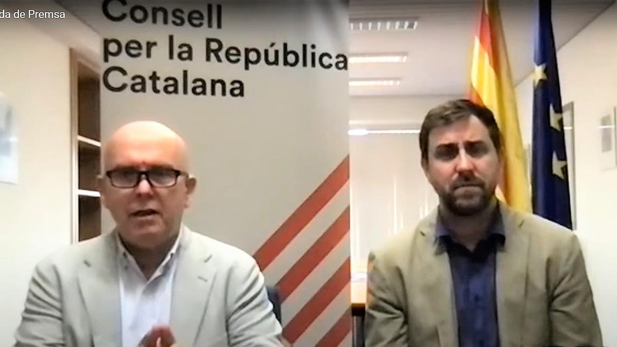 Gonzalo Boye, abogado de Carles Puigdemont, y el exconseller Toni Comín en rueda de prensa telemática.