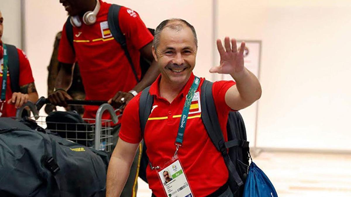Rafa Lozano, con la selección española de boxeo