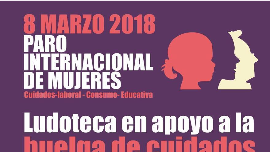 El cartel que anuncia la ludoteca de La Salamandra (Madrid)