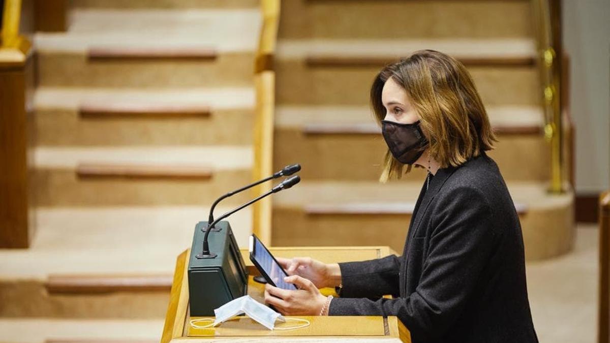 La portavoz del PNV, Itxaso Berrojalbiz, este jueves en el Parlamento