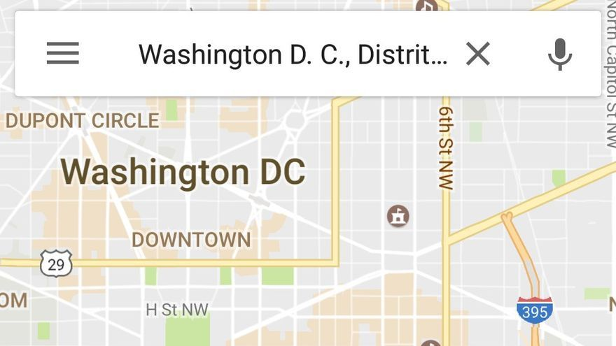Google Maps ofrece los detalles de la Women's March en Washington DC.