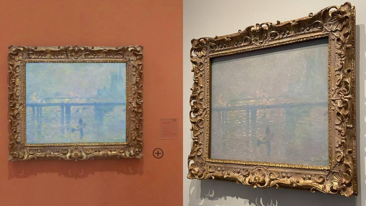 A la izquierda, el cuadro de la serie 'Charing Cross' de Monet cuando colgaba en el Museo Thyssen de Madrid y a la derecha, el mismo cuadro expuesto en el Louvre de Abu Dabi