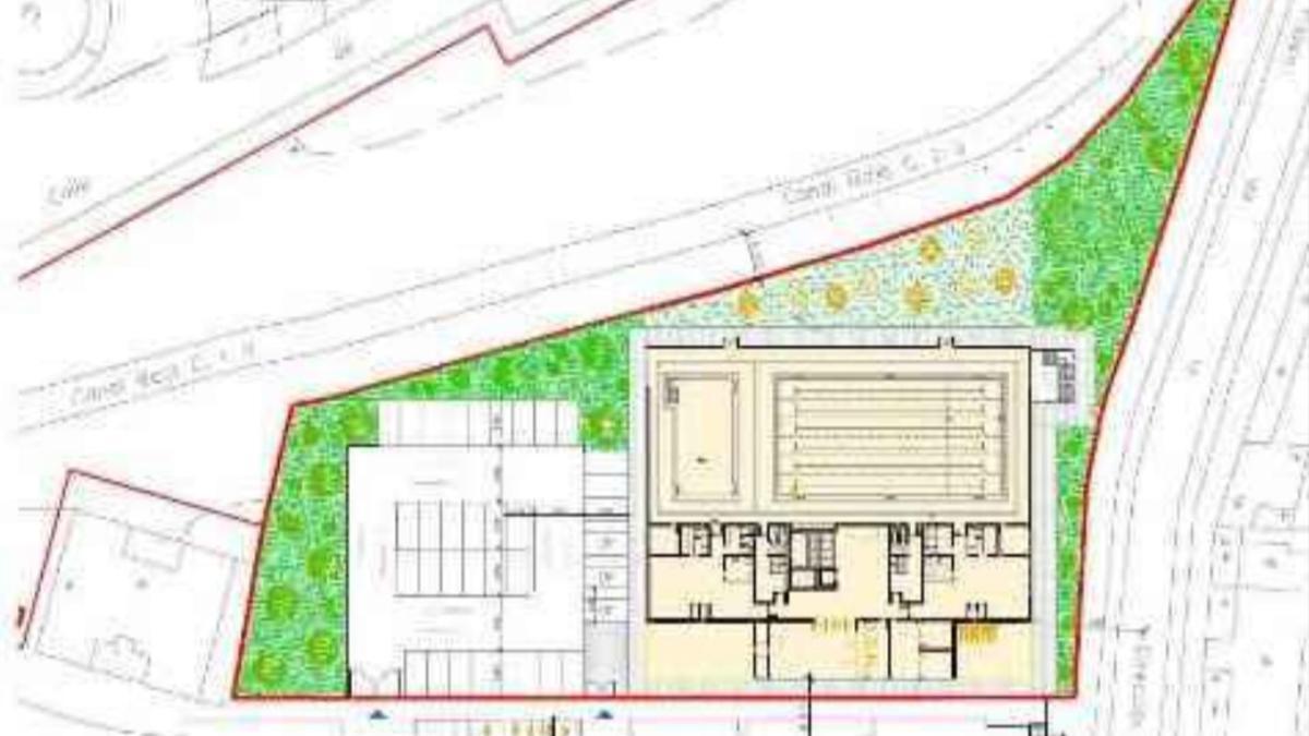 Plano propuesto por el Ayuntamiento de Madrid para el polideportivo del Paseo de la Dirección