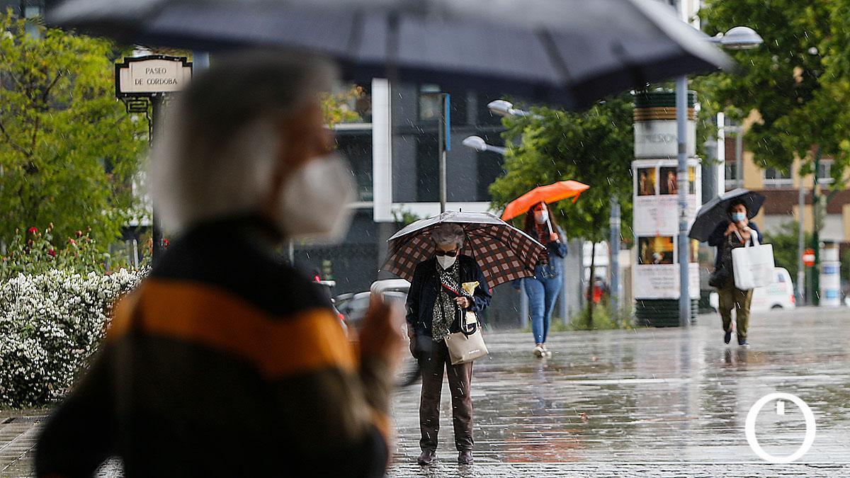 Peatones bajo la lluvia