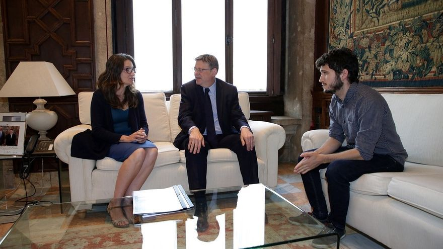 El líder de Podem, Antonio Estany, en una reunión mantenida con Ximo Puig y Mónica Oltra