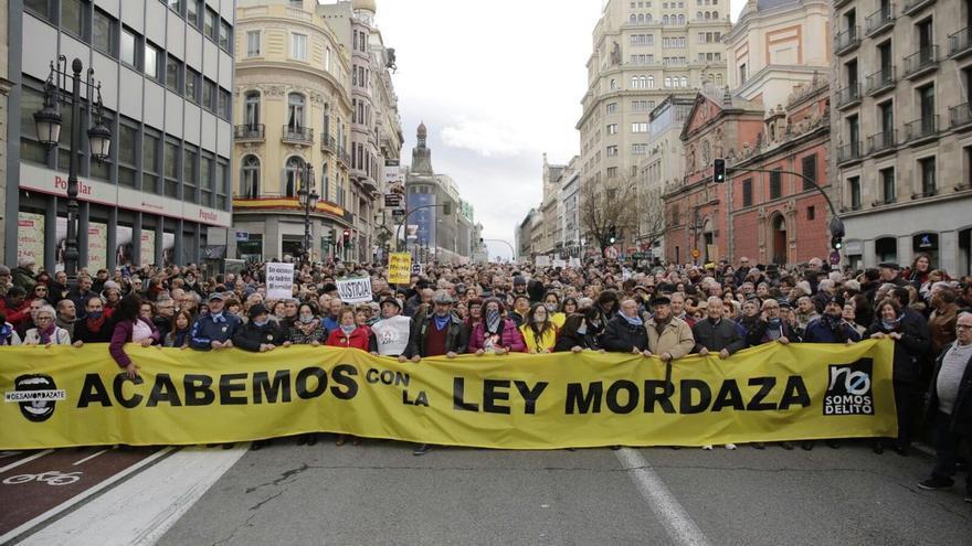 Concentración contra la ley Mordaza en Madrid