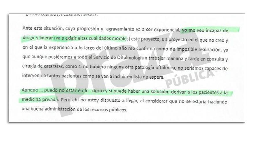 Extracto de la carta de dimisión del jefe de Oftalmología de los hospitales pontevedreses