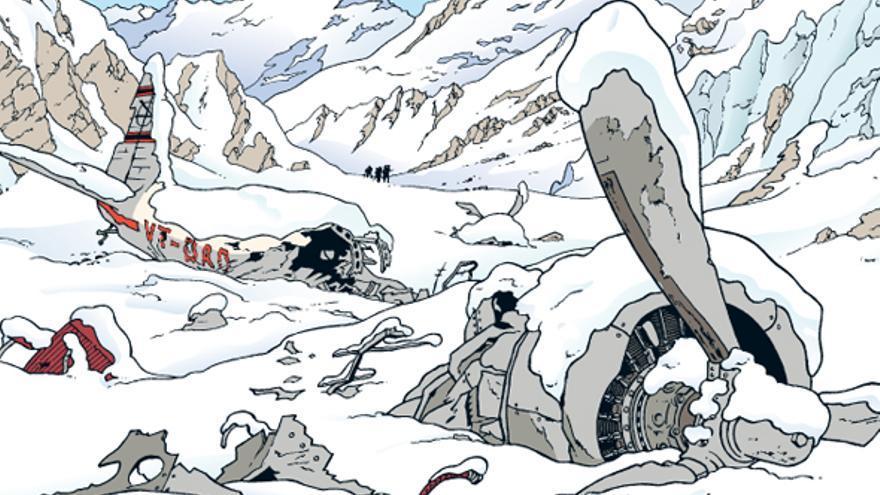 Hergé se sentía muy orgulloso del realismo de las viñetas de un avión destruido en 'Tintín en el Tíbet' (Imagen: © Moulinsart 2017 y Editorial Juventud)
