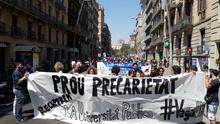 Manifestación del profesorado de la UB contra la precariedad de los asociados