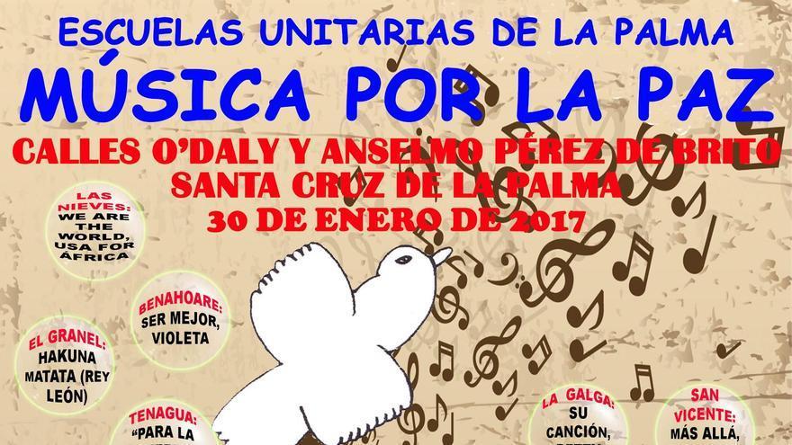 Cartel de la jornada 'Música por la Paz' organizada por el Colectivo de Escuelas Unitarias de la Zona Este.