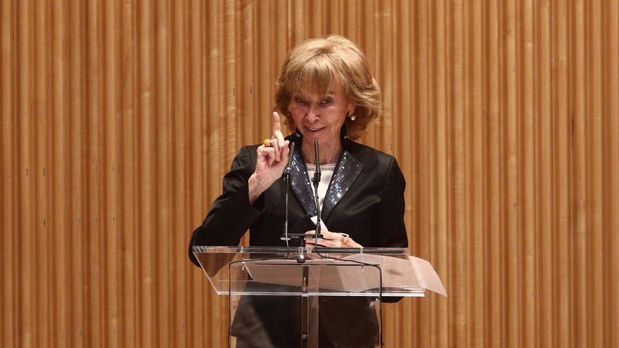 La presidenta del Consejo de Estado, Mª Teresa Fernández de la Vega, interviene durante un acto en recuerdo de Landelino Lavilla, en el Congreso de los Diputados, a 13 de abril de 2021, en Madrid (España)