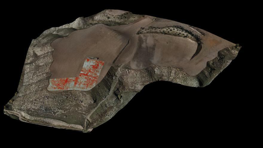 Plano de la ciudad romana de Caraca obtenido por la técnica de georradar