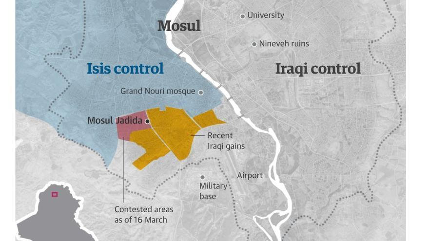 Mapa de Mosul con las zonas donde se han producido los últimos combates.